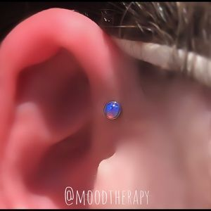 Moodtherapy Jewelry - Tiny 3mm Purple Fire Opal Tragus Stud Earring